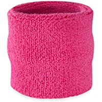 Suddora cinturino fascia tergisudore–Athletic Cotton Terry Cloth Wristband per sport, Neon Pink