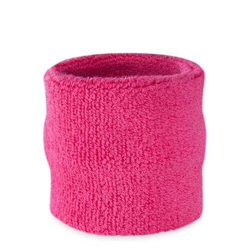 Suddora Handgelenk Schweißband, Baumwoll-Frottee, für Sport, neon pink - Stb Baseball