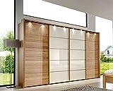 Schwebetürenschrank Eiche teilmassiv und Glas magnolie, Synchron-Öffnung, mit Passepartout-Rahmen und Beleuchtung,Maße: B/H/T ca. 330/216/67 cm