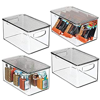 mDesign caisse de rangement à poignées en lot de 4 – boite pour frigo avec couvercle pour ranger les aliments – boite en plastique sans BPA pour le placard ou le réfrigérateur – transparent et gris