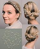 SWEETV Perle Kristall Diadem Hochzeit Haarband Stirnbänder Krone Braut Tiara Haarschmuck Silber Haarreif