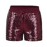 Byqny Damen Sequin Shine Glitter Shorts Paillette Verschönert Party Kurze Hose