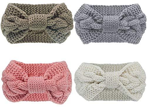 Pacrate Stirnband Damen Winter Warmes Knoten Gestrickte Stirnbänder Elastisches Frauen Haarband Mädchen Haarbänder Gestrickt mit Ohrenschutz