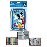 Dreistöckig 45 Stück gefüllte Disney Federmappe Mickey Mouse Federmäppchen EDEL 2013