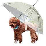 #3: Pets Empire Transparent Umbrella With Built-In Leash Pet Dog Puppy Dry Comfortable In Rain