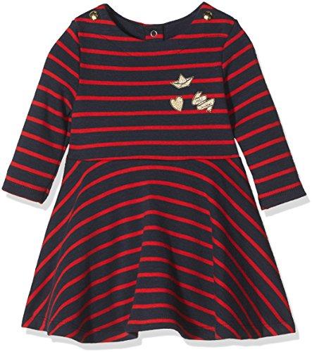 Petit Bateau Baby-Mädchen Kleid Robe ml, Mehrfarbig (Smoking/Froufrou 56), 86 (Herstellergröße: 18m/81cm) (Robe Gestreiften Baumwolle)