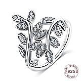 Daesar Damen Ring Silber 925 Eckig Blätter Zirkonia Freundschaftsing Silber Ring Größe 60 (19.1)