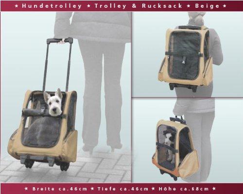 Hundetrolley / Transport für Hunde / Trolley & Rucksack XL Beige