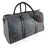 LARS NYSØM Weekender Nomad I Reisetasche Herren, Damen I Elegante Sporttasche mit Schuhfach I Handgepäck 40 Liter I Filz Duffle Bag (grau)