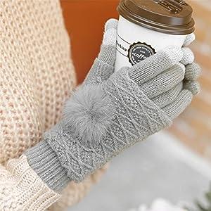 Qearly Multi-functional Lovely Women Gloves Winter Mittens Winter Gloves-Light Gray