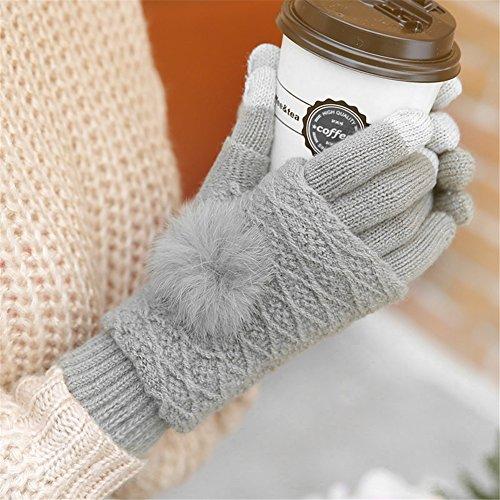 51B8JMjZjLL. SS500  - Qearly Multi-functional Lovely Women Gloves Winter Mittens Winter Gloves-Light Gray