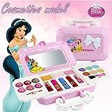 Disney 23pcs Princess Kit De Maquillage De Filles avec miroir | Lavable et non toxique | Princess Real Kit de maquillage avec étui | Cadeau idéal pour les enfants