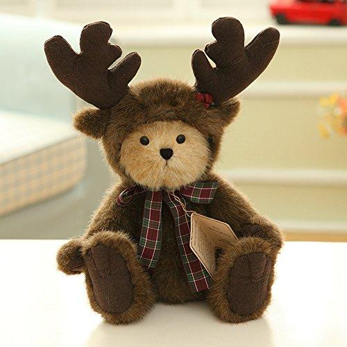 YunNasi Luxus Netter und knuddeliger kleiner Teddybär mit Reindeer Bekleidung Baby Plüsch Super Soft Spielzeug Puppe Kuscheltier Plüschtier mit Kostüm Sitzen 35CM Geschenk Geburtstag