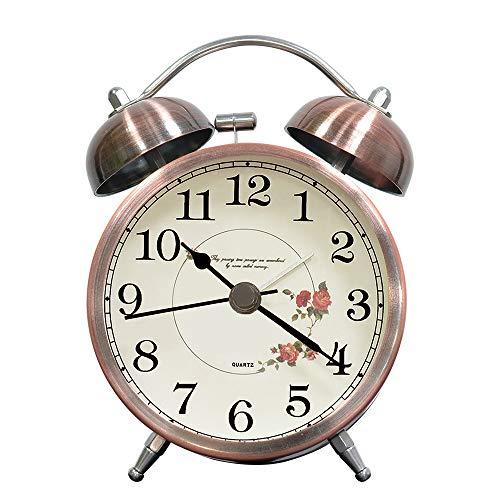 "lunaoo Despertador Analogico Silencioso Sin Tictac, Reloj Despertador Vintage Retro con Luz, 3\"" Alarma Despertador de Doble Campana Fuerte Sonido"