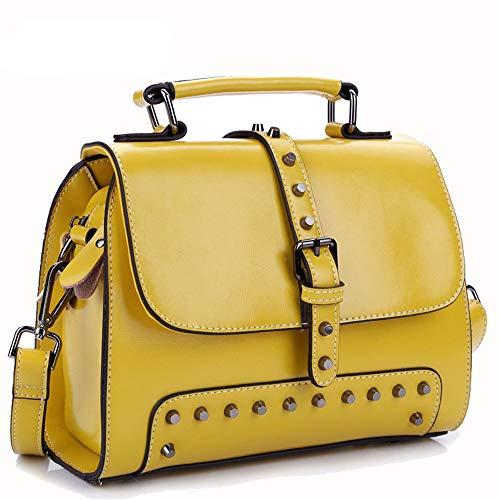 Kieuyhqk Gelbe Pendler-Einkaufstasche der Frauen Schulter-Crossbody-Tasche der Mode-eine Vintage Spassvogel-Handtasche Beiläufige Handtasche der Frauen Schulter-Handtasche (Farbe : Gelb)