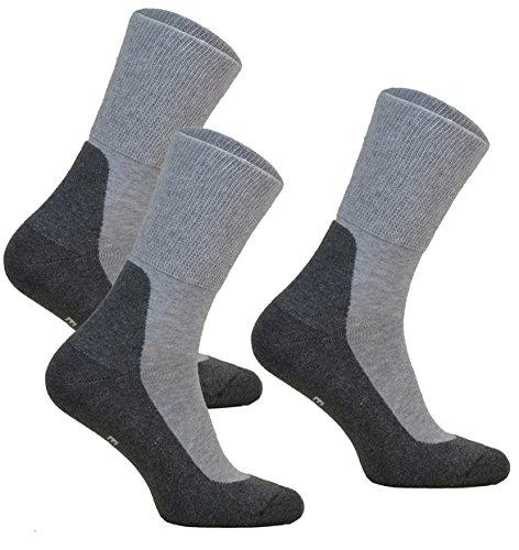 3paar ohne Kompression Baumwollsocken MEDIC DEO COTTON für Diabetiker Damen und Herren Antibakteriale Gesundheits Socken (Grau, 3 paar: 47-49) -