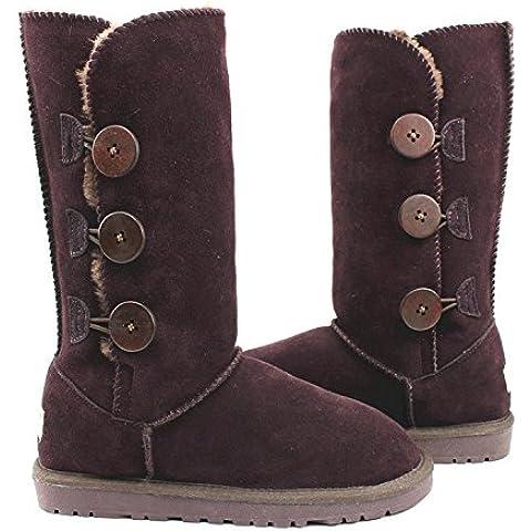 Europeos y americanos otoño e invierno la nieve mujer botas Gaotong genuino cuero del tendón en el extremo plana con Gaotong botas para la nieve botas calientes del ms , coffee color , 39