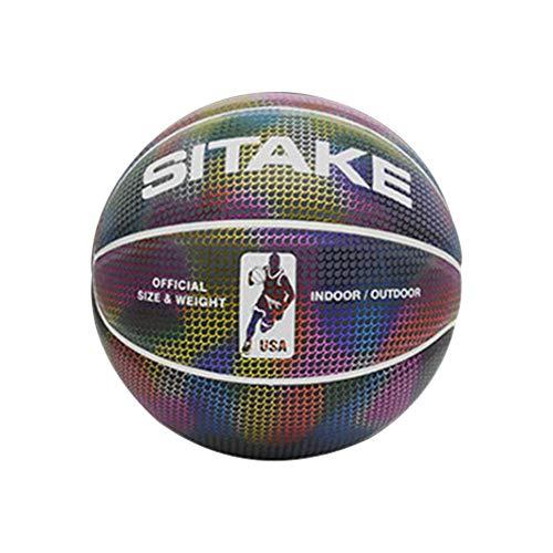 Ballon de Basket Lumineux pour extérieur, Jeu d'intérieur, Balle antidérapante et résistante à l'usure pour Tout Terrain, Taille 7, Ampoule à Incandescence en polyuréthane