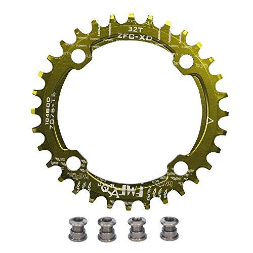 upanbike Bike schmal breit Kettenblatt 104BCD Runde Form Single Kette Ring 32Z 34T 36T Pin, grün