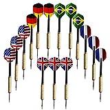 15 Stück (5 Sets) Steeldarts Dartpfeile mit untershciedlichen Nationalfahnen 18g (Deutschland, Frankreich, Großbritannien, USA, Brasil) [Grip kupfer und PVC Oberteil] Facil&co®