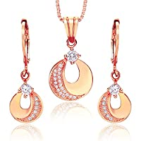 JiangXin 18K Rose Gold Plated French Lever Back Hoop Earring Pendant Necklace,Crescent Moon Shining White Cubic Zirconia Jewellery Set for Women Girl