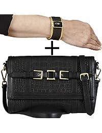 SUPER OFFRE 2 EN 1:BELUCIA THIRZA Sac d'épaule,Pochette,véritable cuir Noir + GRATUIT KELSY bracelet de femme,véritable cuir de serpent,Noir mat