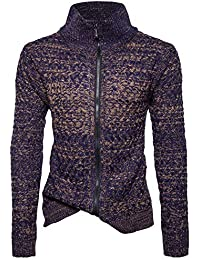 BUSIM Men's Long Sleeve Sweater Autumn Winter Casual Solid Color Stand Collar Sweater Zipper Fashion Slim Coat...