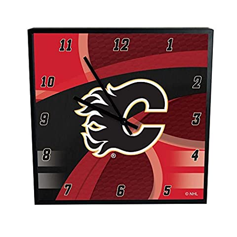 NHL Calgary Flames Official Carbon Fiber Square Clock, Multicolor, One Size