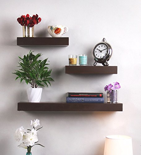Decoration Shop Floating Wall Shelves Set of 3 Shelves 24IN 18IN 12IN (Brown)