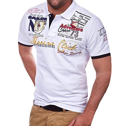 Herren Poloshirt Polo Polohemd Kurzarmshirt Besticken Basic Shirt, T Shirts Männer Coole Print Sweatshirt Slim Fit (Weiß, XXXL) -