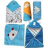 My Newborn Baby Fleece Blanket Gift, Blue (Pack of 5)