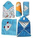 #2: My Newborn Baby Fleece Blanket Gift, Blue (Pack of 5)