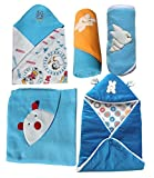 #5: My NewBorn Baby Fleece Blanket (0-3Months, Blue) - Set of 5
