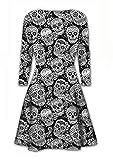 Sasa Craze New Women's Ladies Long Sleeve Halloween Prints Swing Skater Dress Plus Size. UK 8-22 (ML-UK(12-14), Dead Skull Print)