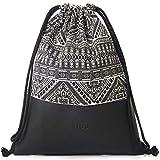 MONi Turnbeutel Rucksack Schwarz-Weiß im Ethnic Design mit verstärktem veganem Leder-Boden | Hochwertiger Hipster-Beutel (Jutebeutel) mit verstellbaren Kordeln und Innentaschen