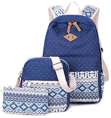 Imagen de yefer  escolares juveniles para chicas lona mujer tela casual bolsa escolar niña ordenadores portátiles de 14 pulgadas +bolso de bandolera+caja de lápices azul marino set