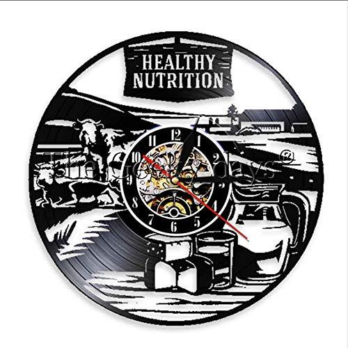 TIANZly Gesunde Ernährung Wanduhr Gesundes Leben Dekoration Lebensmittelgeschäft Rezept Logo Lampe Logo Vinyl Lp Rekord Uhr Wanduhr Raumdekoration