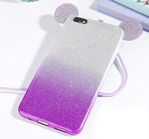 Vandot Huawei P8 Lite Coque de Protection Etui Transparent Antidérapant Pour Huawei P8 Lite Etui Protection Dorsale Étui Slim Invisible Housse Cover Case en TPU Gel Silicone Hull Shell-Blanc Purple Gradient