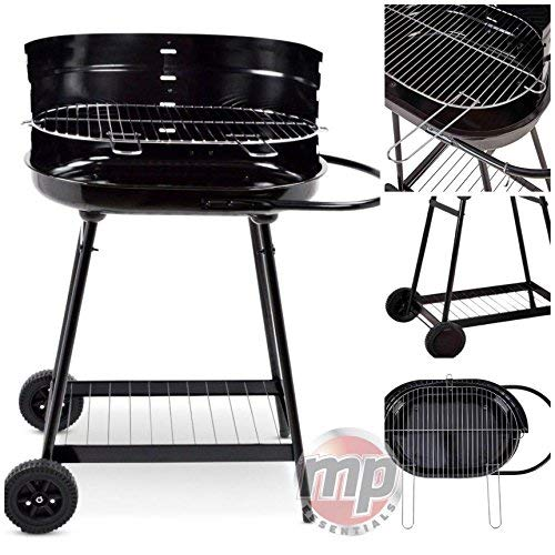 "51B8RFqN9iL. SS500  - MP Essentials Portable Charcoal Trolley 17"" Kettle Barbecue BBQ Outdoor Grill with Wheels - BLACK"