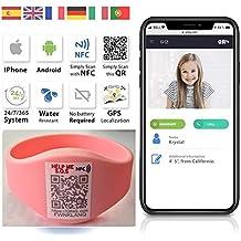 QR4g.com GPS: Pulsera identificativa con Tecnología QR NFC GPS para Niños (Rosa