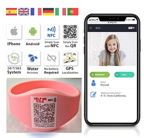 QR4g.com GPS: Pulsera identificativa con Tecnología QR NFC GPS para Niños (Rosa)