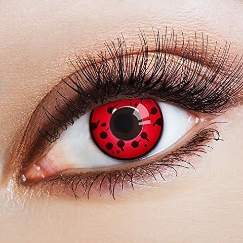 aricona Farblinsen | rote Kontaktlinsen | gruselige farbige Jahreslinsen für dein Vampir Kostüm und Halloween Make (Kostüm Farbige Kontakte Günstige)