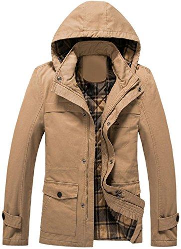 Jeansian Fashion Hommes Vestes d'hiver Manteaux et Blousons Men's Fashion Slim Jacket Coat Outwear Tops MCF031 Kaki