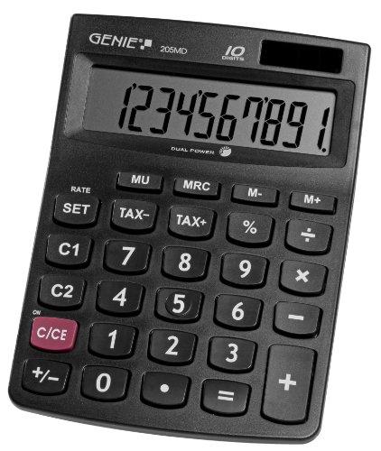 Genie 205 MD 10-stelliger Tischrechner (Dual-Power (Solar und Batterie), Jumbo-Display, kompaktes Design) schwarz