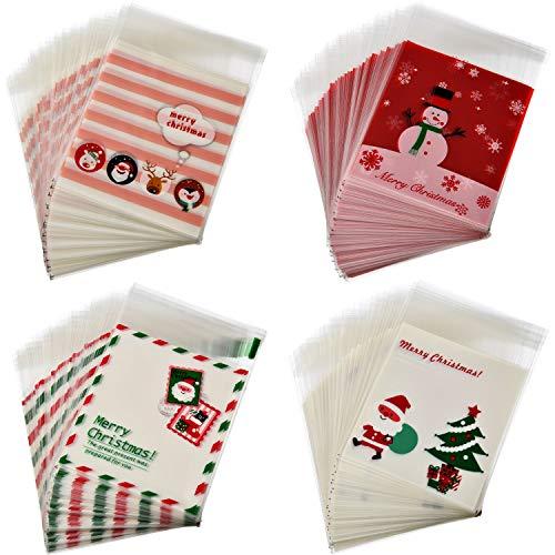 400 pezzi sacchetti di cellophane sacchetti per biscotti di natale imballaggio autoadesivo buste di plastica borse di favore della festa, 4 stili