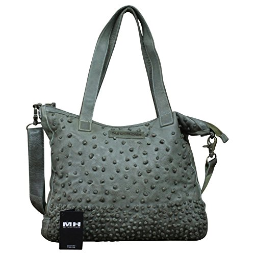 Taschendieb Wien echt Leder Vintage Shopper Schulter Tasche Leder Vintage NEW, Farbe:Grün Grün
