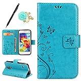 Uposao Lederhülle Samsung Galaxy S5 Mini Handytasche Schmetterling Blumen Muster Retro Handyhülle Ledertasche Flip Tasche Case Cover Bookstyle Hülle Brieftasche Leder Klapphülle Schutzhülle Etui,Blau