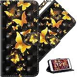 HMTECH LG K50 Hülle,Für LG Q60 / LG K50 Handyhülle 3D Gold Schmetterling Blumen Flip Case PU Leder Cover Magnet Schutzhülle Ständer Handytasche für LG Q60 / LG K50,YX Gold Butterfly