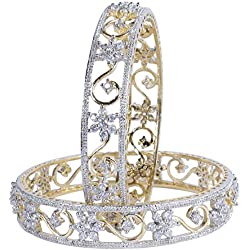 MUCH MORE Gold Plated Diamond Look Bangles Women (2.60 IN)