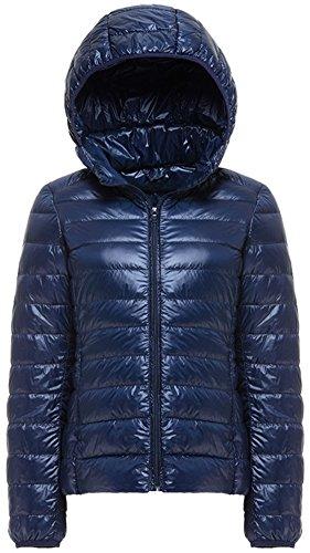 Mochoose Doudoune à Capuche Ultra Légère Veste Manteau Parka Blouson Zippée Manches Longues Hiver pour Femme Bleu Marine